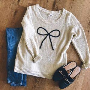 Lauren Conrad cream embroidered sweater size M
